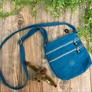 kipling // mini turquoise blue green crossbody bag